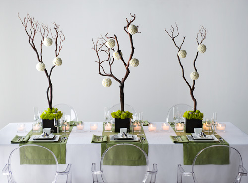 Green theme for Modern table centerpieces